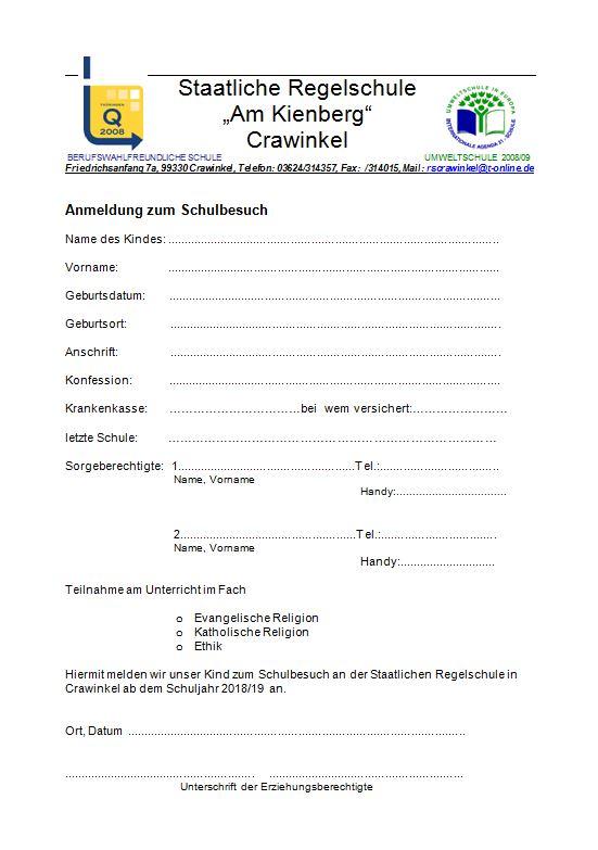 Anmeldeformular - RS Crawinkel